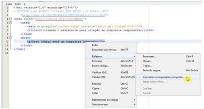 Code selection that will be turned into a custom component by the NetBeans wizard