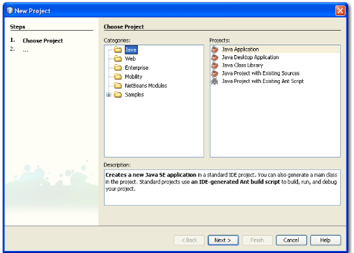 New project dialog box