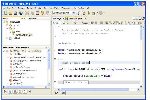 HelloWorld - Netbeans 6.0.1 Window