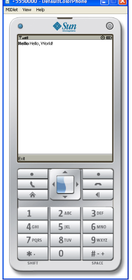 DefaultColorPhone Emulator Displaying the output