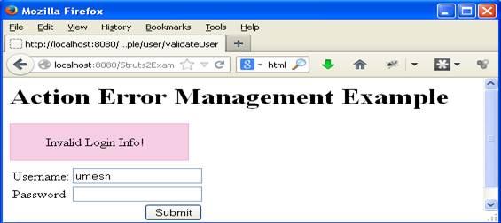 Login.jsp with invalid login information error