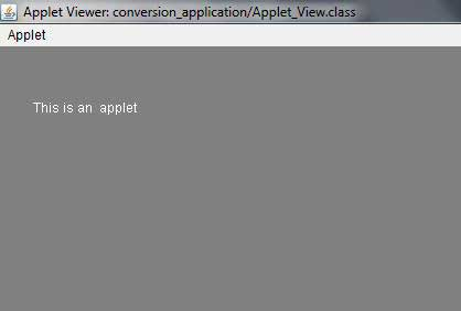 Output of APPLET class
