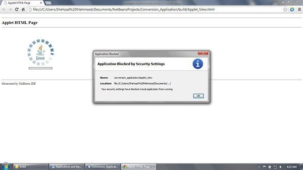 The security restriction does not allow the applet part to execute in the web browser completely