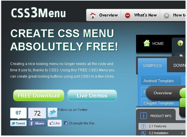 CSS3 Menu Generator