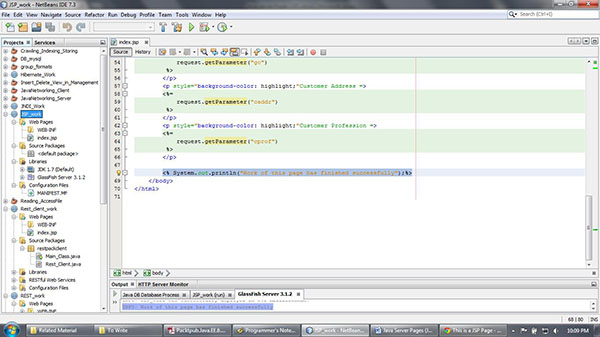 Output from the Web Application of JSP
