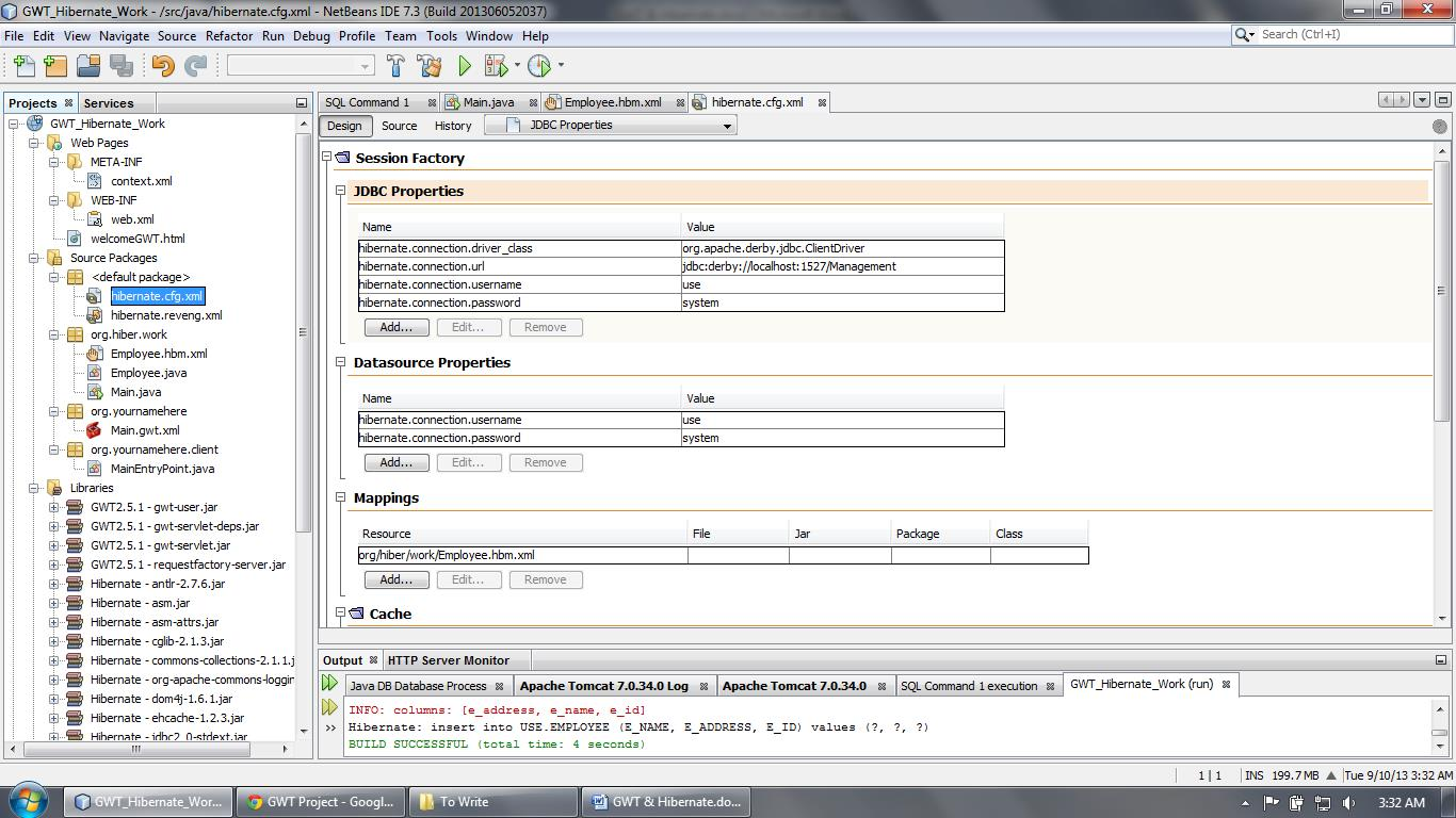 Hibernate configuration file, output and related files inside the Projects tab