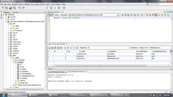 Service tab and the database table