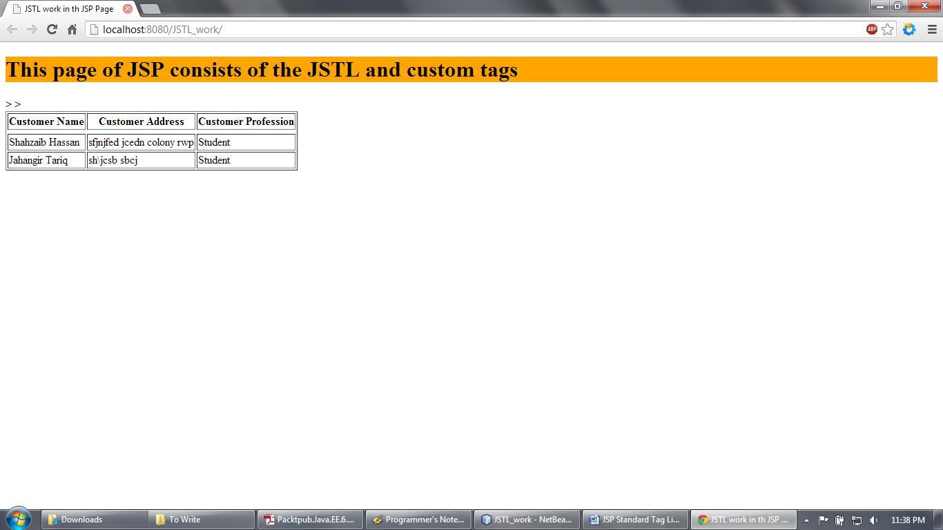 JSTL work in JSP Web Application and Output