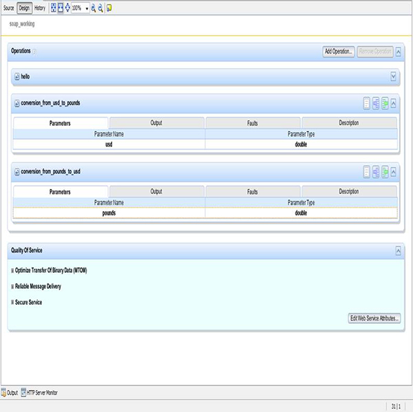 Interface with three Operations to be performed as Web Service to Client