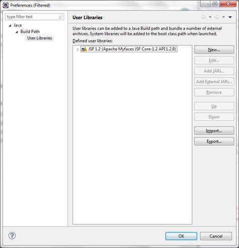 Manage libraries dialog