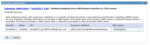 JNDI binding set for the deployed EJB 3.x application in Websphere Application Server
