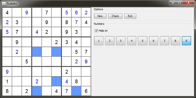 Shows the snapshot of a Sudoku game that is developed