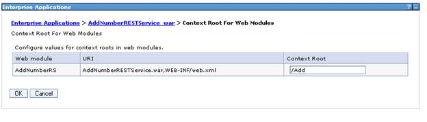Context root set for the deployed application in Websphere Application Server