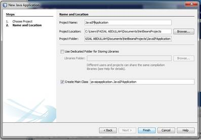 New Java Application window, we will give a name to our application