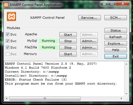 XAMPP Control Panel Application