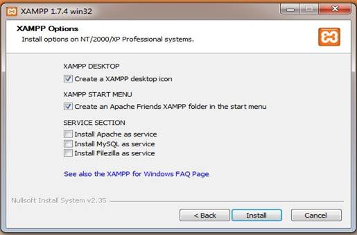 XAMPP Options
