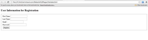 Output of Registration webpage