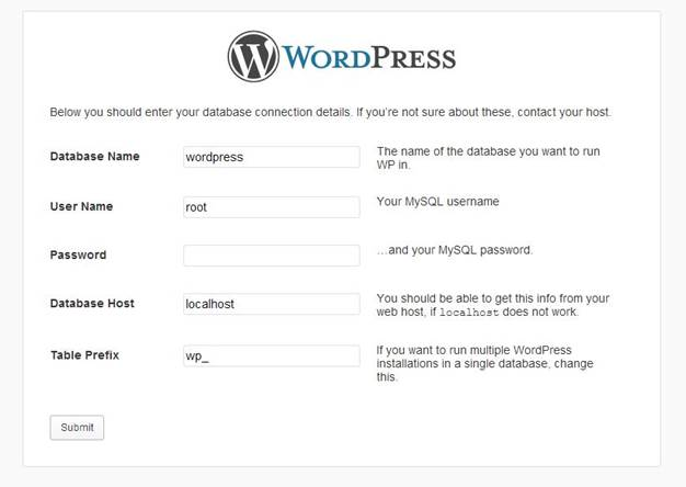 wordpress CMS filled required information for installation