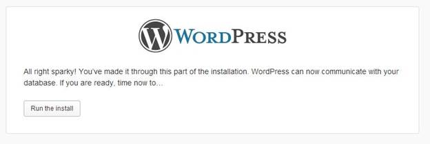 wordpress CMS affter all configuration ready for run installation