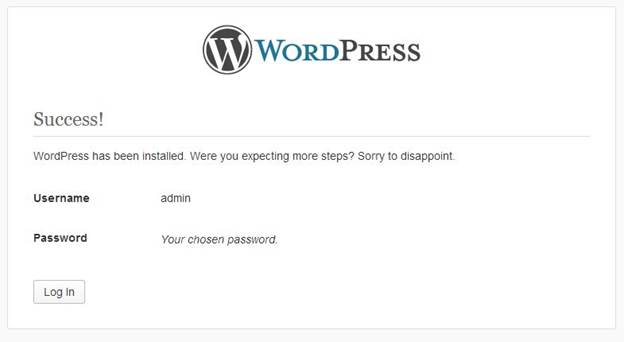 Congratulations wordpress CMS is installed and ready for use