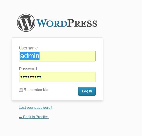 wordpress CMS login page for login and use wordpress CMS