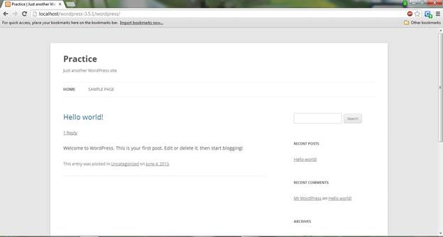 wordpress CMS default theme view on web browser