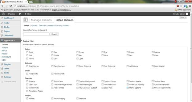 wordpress CMS Theme environment changing options and Installation of theme tab