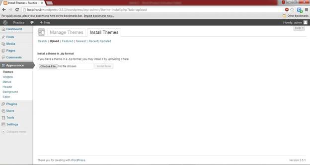 wordpress CMS uploading and installing of theme for website