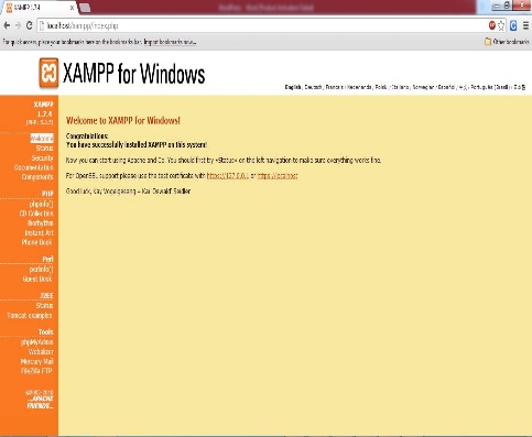 localhost Xampp main Page