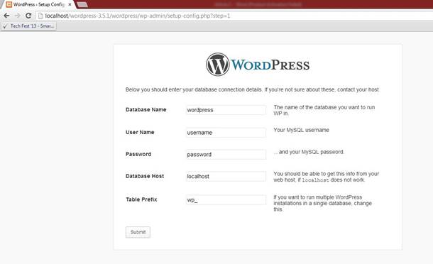 wordpress CMS filling the required information for installation