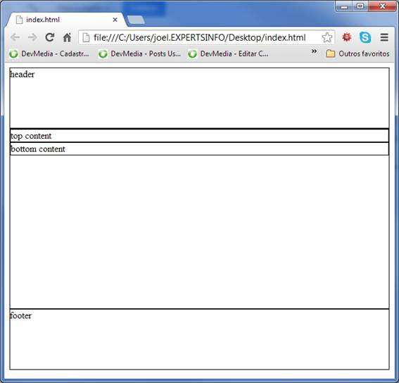 Initial appearance of the example page
