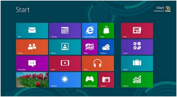 Initial Menu of Windows 8 in Metro style