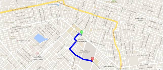 Route drawn on Google Maps.