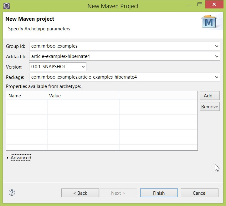 Information for creating a project in Eclipse-based Maven.