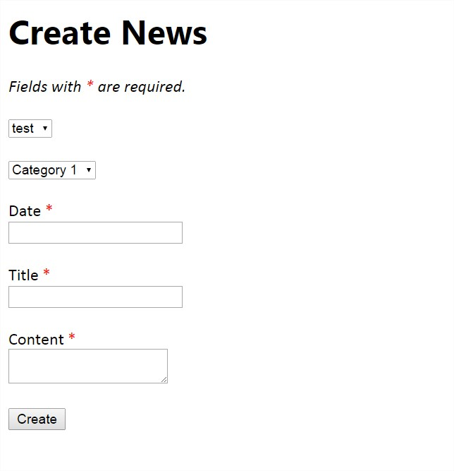 Form for registering news.