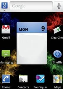 The status bar with multiple icons presen
