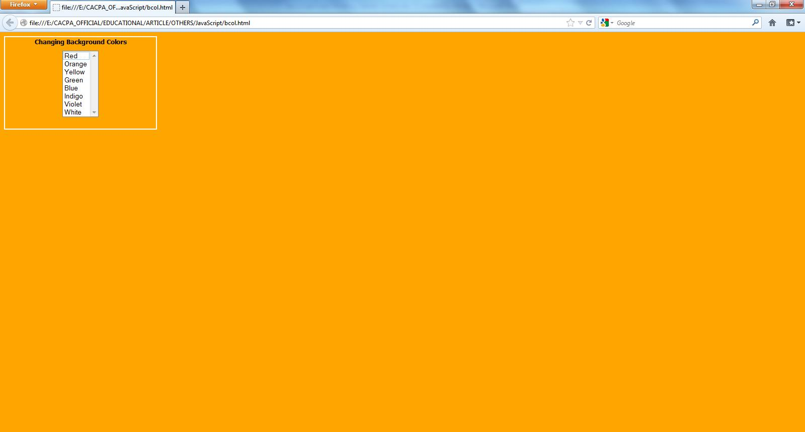 Simple javascript code is invoked when a color is selected and the color of the background is changed accordingly