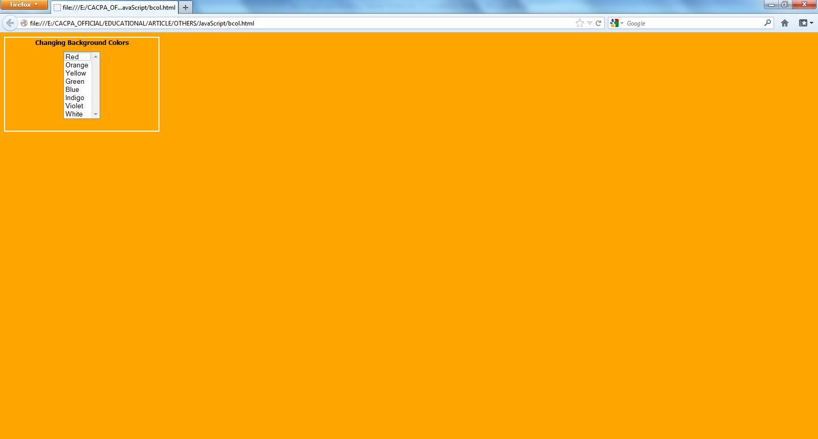 Change div background color javascript phpsourcecode net - Div background color ...
