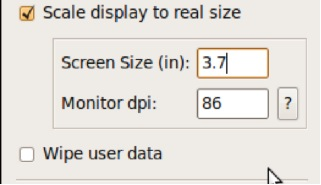 Showing screen size and dpi settings
