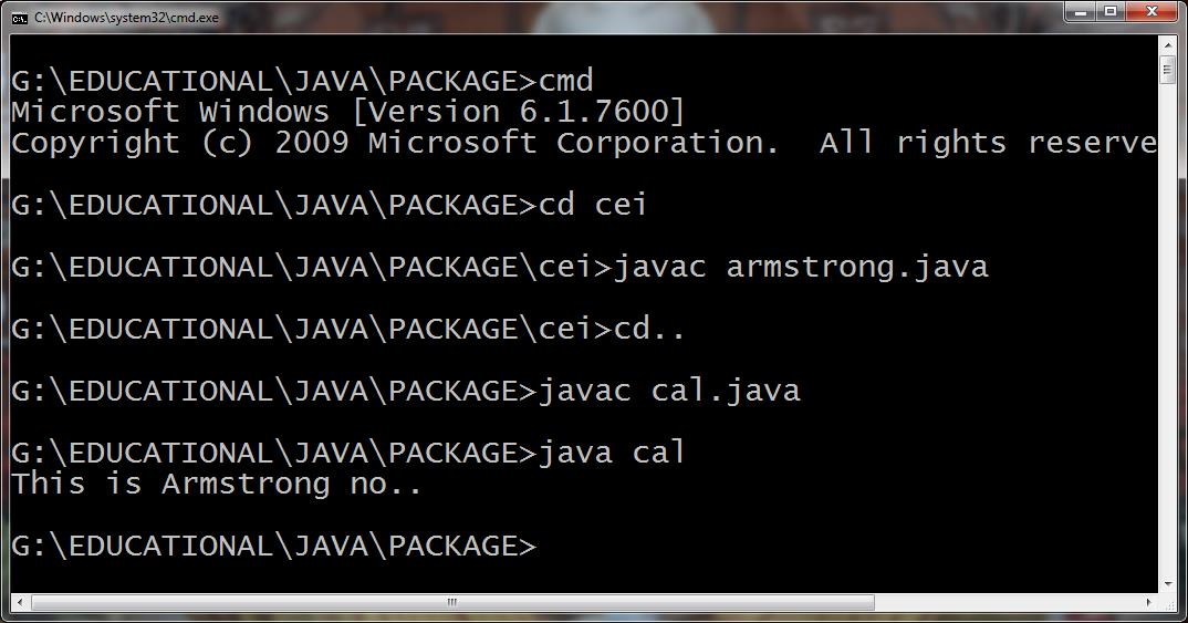 Process to Compile package program and run.