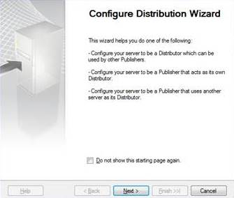 Showing distribution wizard