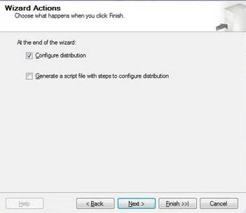 Showing wizard actions