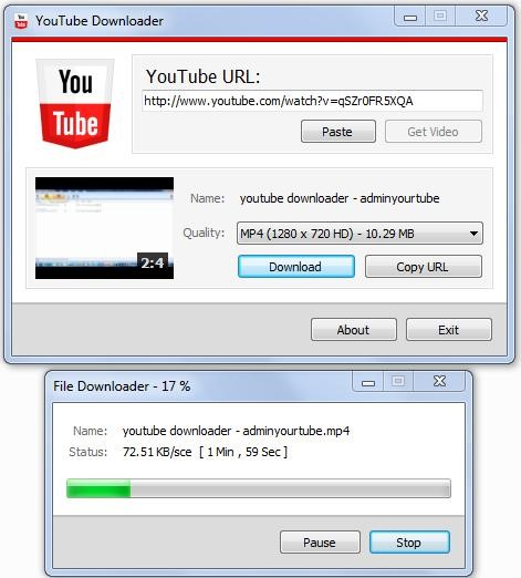 Shows the snapshot of the YouTube downloader