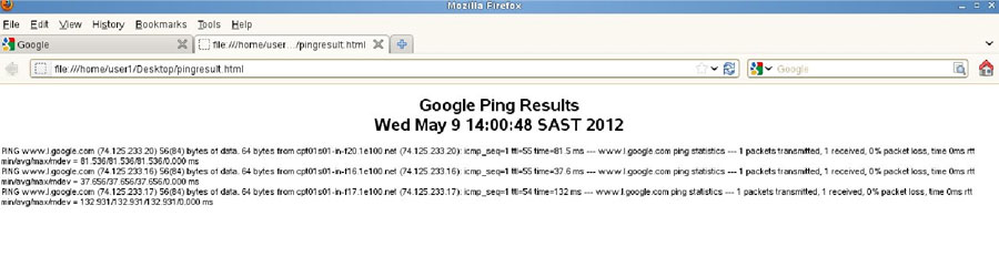 The ping results on a browser