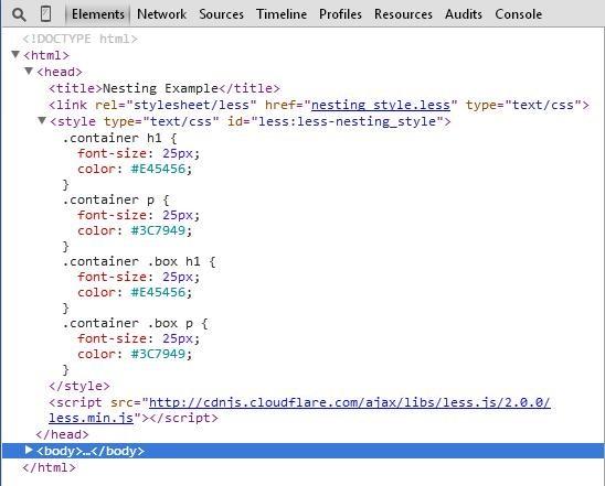 CSS of nesting.html