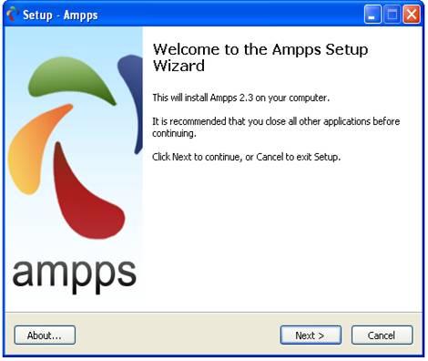 Setup wizard ampps