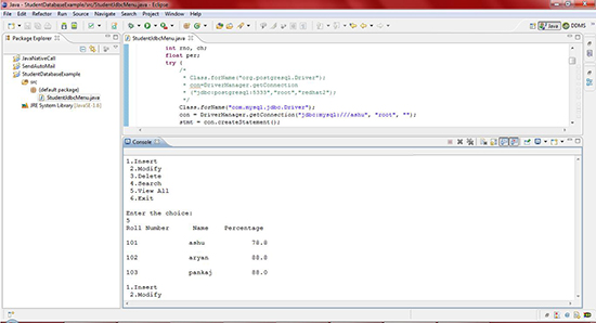 Showing the output after executing StudentJdbcMenu.java program