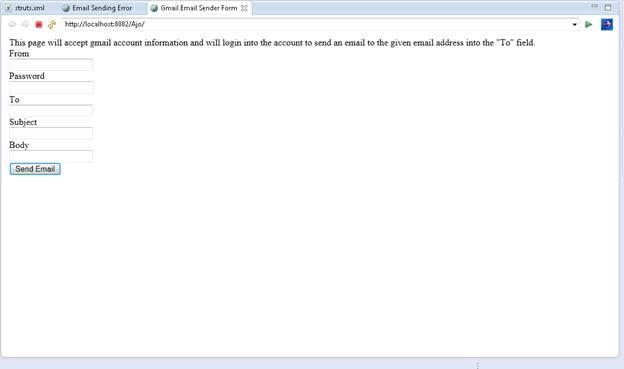User Interface for Email Sender
