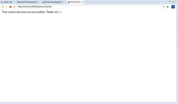 emailSender action loads a success.jsp view, if email is sent successfully