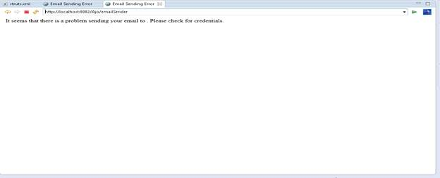 emailSender loads error.jsp, if there is an error while sending email